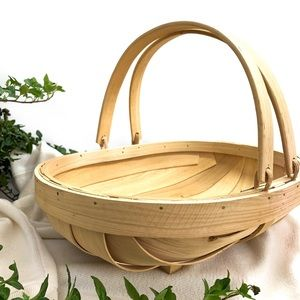 vintage wooden catch all basket with handles